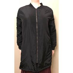 Jackets & Blazers - Black Long Bomber Jacket
